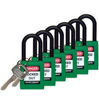 Brady Safety padlock 38MM W/PS GREEN KD 6PC