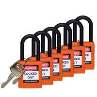 Brady Safety padlock 38MM W/PS ORANGE KD 6PC