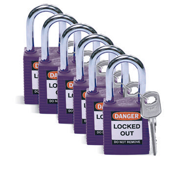 Brady Safety padlock 38MM W/SS VIOLET KD 6PC