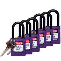 Brady Safety padlock 38MM W/PS VIOLET KD 6PC