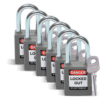 Brady Safety padlock 38MM W/SS GREY KD 6PC