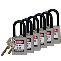 Brady Safety padlock 38MM W/PS GREY KD 6PC