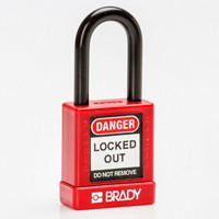 Brady Safety padlock 38MM ST KD RED 6PC