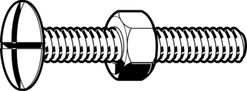 Double slotted mushroom head screw NF E25-129 Steel Zinc plated 4.8 with nut