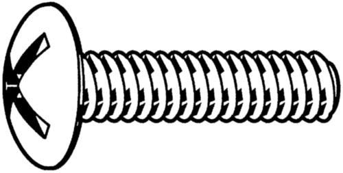 Vis à métaux tête poêlier fendue en croix NF ≈E25-129 Acier Electro zingué 4.8 M6X30