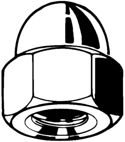 Hexagon domed cap nut BSW Steel Plain 6