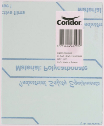 COND PART E/F PROT.  CLEAR LENS 110X90MM
