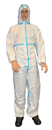 Condor Disposable coverall with hood White/Blue BC26-356-S