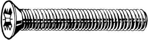 Verzonken schroef met Pozidriv kruisgleuf DIN 965 A-Z Roestvaststaal (RVS) A2 M5X12