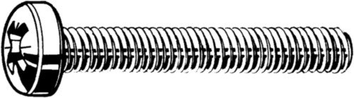 D-fejű, kereszthornyos csavar DIN 7985-Z Rozsdamentes acél A4
