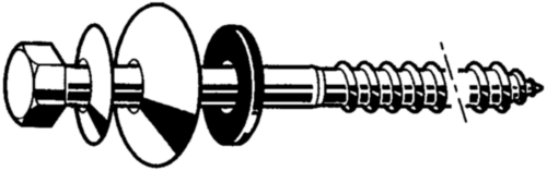 Zeskant houtdraadbout DIN ≈571 Roestvaststaal (RVS) A2 bitumen ring
