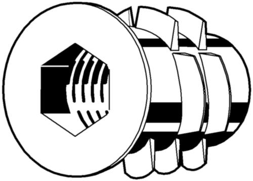 Hatlapú belső kulcsnyílású menetes betét, peremmel, SKDZ típus Zinkdruckguß Horganyzott sárga passzivált M5X10