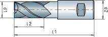 Fabory End mill short N DIN 844 B HSS-ECo8 Blanc 16,0 MM
