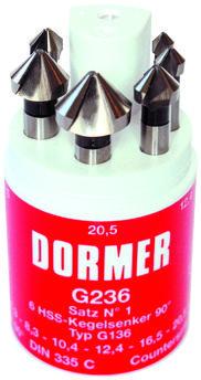 Dormer Juego de avellanadores G236 DIN 335 C HSS Blanc G2364