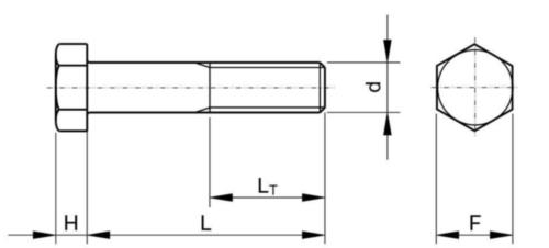 Pilierová šesťhranná skrutka UNC zväčšený závit ASME B18.2.1 Low carbon steel ASTM A394 Zinkované ponorením Type 0 zväčšený 3/4-10X1.1/2
