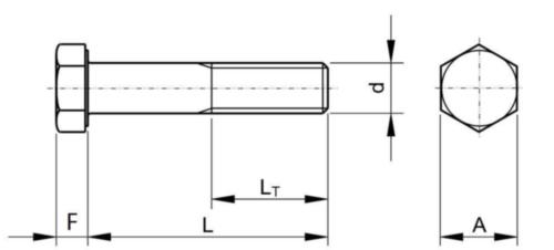 Vis à tête hexagonale filetage partiel BSF BS ≈1083 Acier Brut Gr.R 1/2X1.3/4