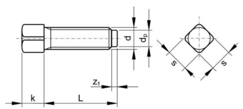 Vis à tête carrée à téton court DIN 479 Acier Brut 8.8 M16X90