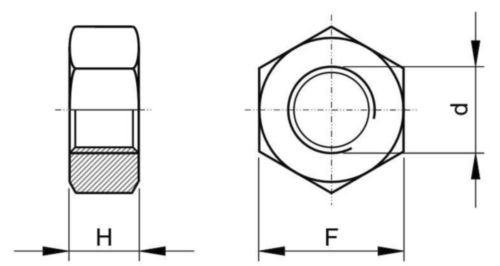 Tuerca hexagonal alta UNF SAE J482 Acero SAE J995 Sin revestimiento Gr.8 1.1/4-12