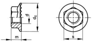 Zelfborgende zeskantflensmoer met vertanding Staal Zinkflake Cr<sup>6+</sup>vrij - ISO 10683 flZnnc 8/10 M12 - CL.10