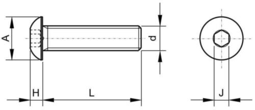 Vis à tête cylindrique bombée plate à six pans creux UNF ASME B18.3 Alliage d'acier ASTM F835 Brut 1/4-28X1/2