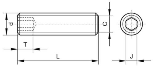 Hernyócsavar lapos véggel UNC ASME B18.3 Alloy steel ASTM F912 Felületkezeletlen 5/8-11X1/2