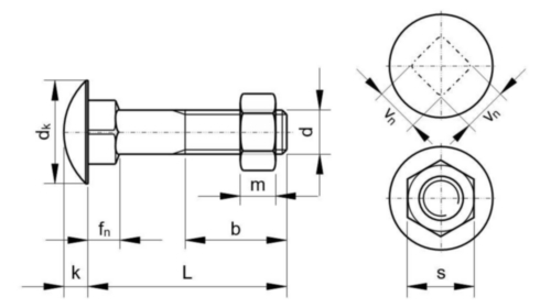 Vis à métaux à tête bombée et collet carré avec écrou hexagonal DIN 603/555 Acier Electro zingué 4.6 M10X130