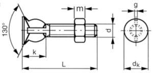 Tornillo cabeza avellanada y turca hexagonal Acero Cincado 4.6 M8X50