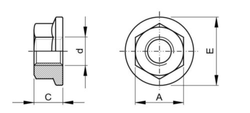 Porca sextavada com flange ASME B18.16.6 Aço ASME B18.16.6 Zincado Gr.F 1/4-20