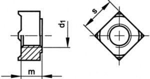 Square weld nut DIN 928 Steel Max. 0,25%C Plain M10