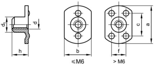 Puntlasmoer met flens Staal Elektrolytisch verzinkt M6X11X7,3