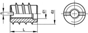 Slotted screw insert type A DIN 7965 Steel Plain M12X25