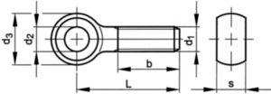 Knevelschroef met vlakke zijden DIN 444 B Staal Rechts Elektrolytisch verzinkt 4.6 M16X120