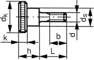 Vis moletée epaulée DIN 464 Acier inoxydable (Inox) A1 M3X6