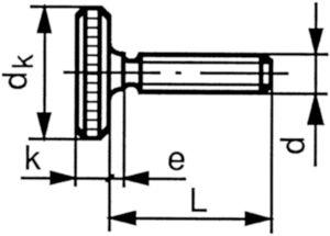 Knurled thumb screw thin type DIN 653 Steel Plain M3X6