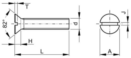 Vis à métaux Tête fraisée fendue UNC asme B18.6.3 ASME B18.6.3 Low carbon steel Electro zingué #6-32X3/4