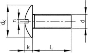 Șurub cu cap bombat XL, locaș crestat NF ≈E25-129 Plastic Poliamidă (nilon) 6.6 M6X50