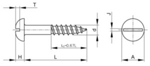 Woodscrew slotted round head asme b18.6.1 ASME B18.6.1 Stainless steel AISI 304 #6X1/2