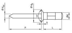 Rivet aveugle à tête fraisée, ouvert, multi-serrage Aluminium AlMg 2,5 / Acier Electro zingué 3,2X10MM