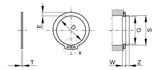 Sicherungsringe extern ASME B18.27 Federstahl UNS G10600/G10900 3/4