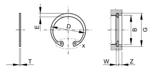Retaining ring internal, type NA2 ASME B18.27 Pružinová oceľ UNS G10600/G10900 1/4