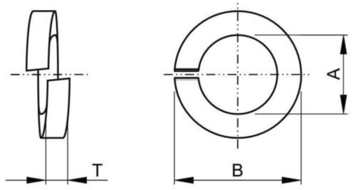 Șaibă elastică / grower masivă inch ASME B18.21.1 Oțel arc Simplu #8