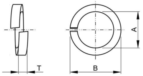 High-collar helical spring lock washer ASME B18.21.1 Spring steel Plain 3/4