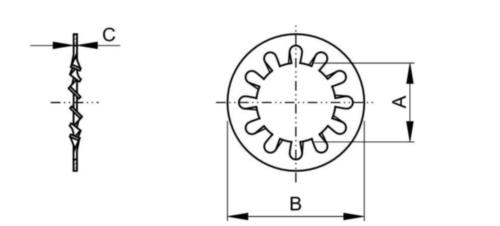 Tandveerring met open binnenvertanding, type A ASME B18.21.1 Fosforbrons C42500 #10