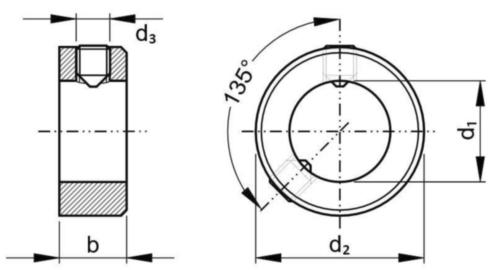 Anel de ajuste com perno sextavado interior DIN 705A/ISO 4029 (DIN 916) DIN 705 A/ISO 4029 Aço de corte 38X56X16MM