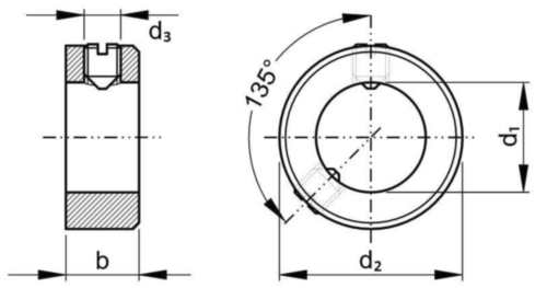 Adjusting ring with slotted set screw DIN ≈705A Free-cutting steel with EN 27434 10