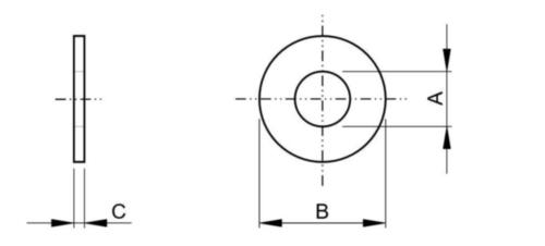 Vlakke sluitring type A met grote buitendiameter (USS) ASME B18.21.1 Staal Elektrolytisch verzinkt 1.1/4