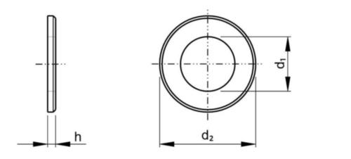 Vlakke sluitring met afschuining ISO 7090 Staal Blank 200 HV M6