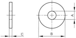 Vlakke sluitring, speciaal ASME ≈B18.22.1 Staal Elektrolytisch verzinkt geel gepassiveerd 1.1/8