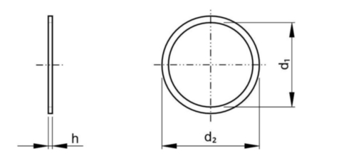 Sealing ring, flat, h=1 DIN 7603 A Copper 8X14MM