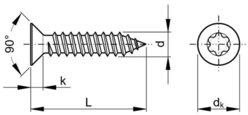 Hexalobular socket countersunk head tapping screw ISO 14586 C Stainless steel A2 ST4,2X9,5MM